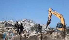 الاحتلال يهدم بركه مياه زراعية شمال أريحا